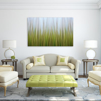 Abstract Landscape Eel Grass Canvas Gallery Wrap Large Wall Art Coastal Decor Lime Green Blue Yellow Marsh Photograph Living Room Bedroom
