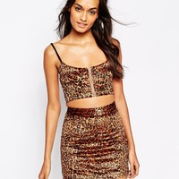 Story Of Lola Festival Cropped Bralet Top In Faux Fur Leopard Print Co-Ord