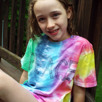 Girls Peace Shirt, kids L- Rainbow Tie Dye Shirt w Zentangle Peace- Hippie Girls Tiedye Peace Tshirt- Boho Kids- Girls Tie Dye- Hippy Kids