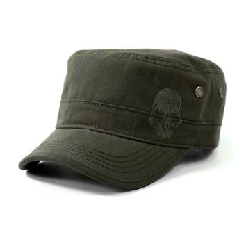 Skull Embroidered Logo Men Flat-top Hats Cotton Snapback FlatTop Hats Army Cadet
