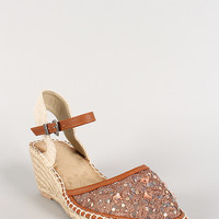 Lace Jeweled Round Toe Espadrille Wedge