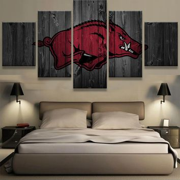 Arkansas Razorbacks NCAA College 5 Panel Canvas Wall Art Home Decor