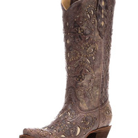 Women's Brown Crater Bone Inlay & Studs Boot - A1098