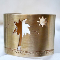Palm Tree, Sun & Waves handmade cuff bracelet