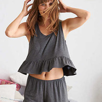 Aerie Ruffle Tank, Charcoal Heather