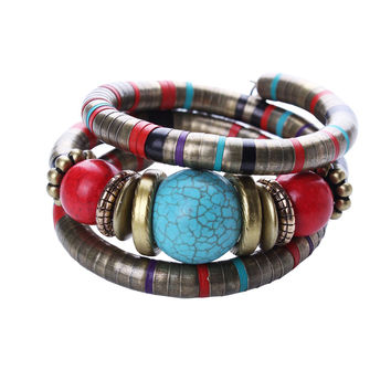 Hot Jewelry Tibetan Silver Bracelet Turquoise Inlay Roundness Bead Adjust Bangle B0229