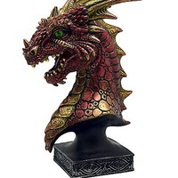 Red and Gold Dragon Pedestal - Spencer's