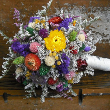 Stunning dried flower Bride's bouquet with Birch holder. For your woodland, rustic, summer or fall wedding.