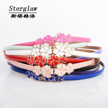 fashion sweet cute Flowers female belt 2016 colorful patent leather lady leather belts for women ceinture femme sterglaw A015