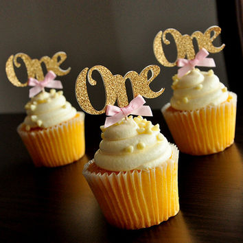 Custom Bow Colors&Gold Silver Black Glitter ONE Cupcake Toppers Picks Baby Shower Kids First Birthday Party Favors Decoration