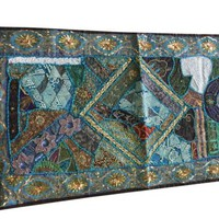 Indian Decor Sari Tapestry Hand Crafted Sequin Patchwork Table Runner Wall Throw