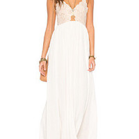 Beige Lace Splicing Spaghetti Strap Maxi Dress