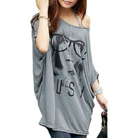 Allegra K Women Short Batwing Sleeve Portrait Pattern Loose Fit Tunic Top, Gray, Small / US 6