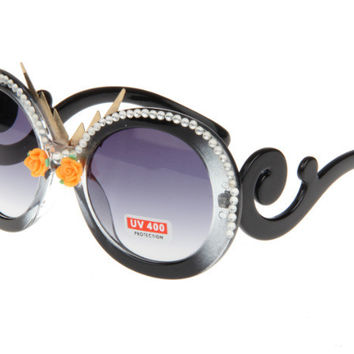 Rack Handcrafts Black Pearls Soft Floral Sunglasses [4915289220]