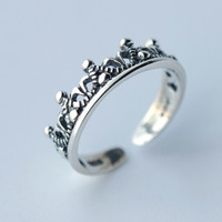 Vintage Sterling Silver Crown Open Ring Adjustable -158