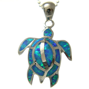 INLAY OPAL STERLING SILVER 925 HAWAIIAN HONU TURTLE PENDANT HEAVY 16MM