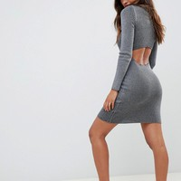 ASOS DESIGN Rib Knit Dress with Cut Out Back at asos.com