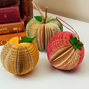 Book Art Apple Strawberry Pear  Orange shaped Paper Fruit handmade from books hanging