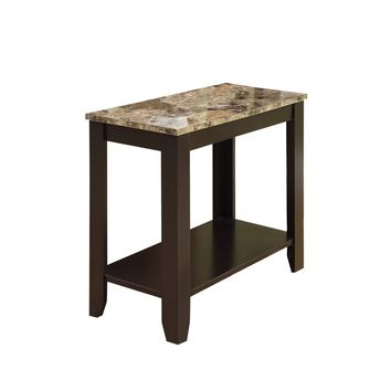 Accent Table - Cappuccino / Marble Top