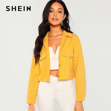 Trendy SHEIN Ginger Cotton Pearl Beaded Pocket Collar Neck Jacket Casual Single Breasted Crop Coat Women Autumn Streetwear Jackets AT_94_13
