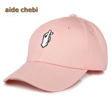 [aide chebi] Cotton Hand Rose OK Love Gestures Finger Snapback Hats Caps Baseball Caps For Men Women Adjustable Adult Cap
