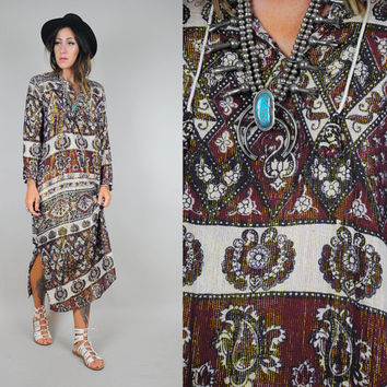 Softest 70's INDIAN COTTON Maxi tent dress PAISLEY Metallic Gauze hippie bohemian Ethnic trapeze