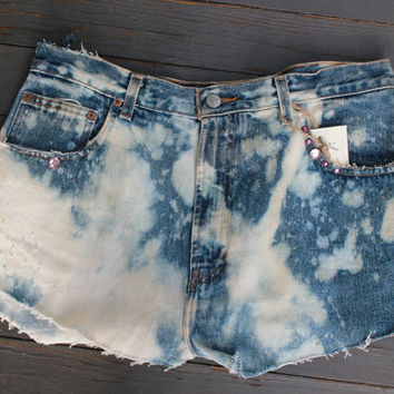 High Waisted Denim Shorts, Blue Jean Cut Offs, Daisy Dukes