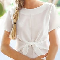 White Short Sleeve Tie Front Blouse
