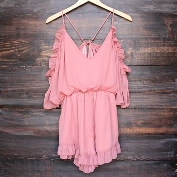 peek a boo shoulder romper with ruffle hem - dusty pink