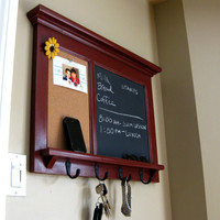 Barn Red Bulletin Board Chalkboard Keyhook Organizer with Shelf for your Home Heirloom Quality Furniture