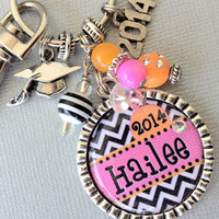 GRADUATE gift Class of 2014 PERSONALIZED keychain Year by buttonit