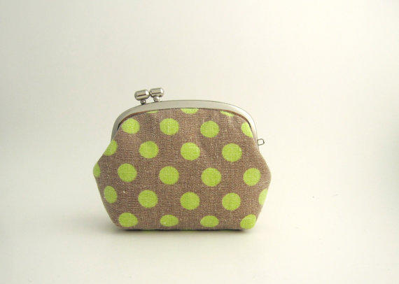 Frame Coin Purse-- side lock frame -yellow dots on gray