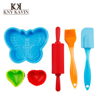 10pcs/set Silicone Bakeware Set High Quality Food Grade Silicone Cake Tools Home DIY Cake Moulds Butter Knife Rolling Pins HK731
