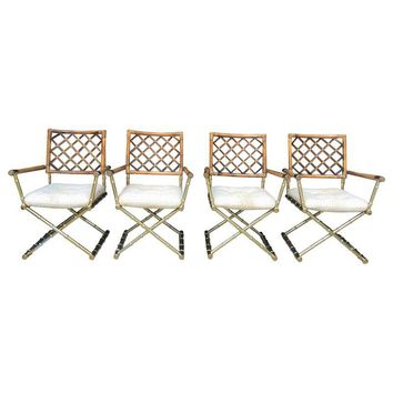 Pre-owned Faux Bamboo Directors Chairs - Set of 4