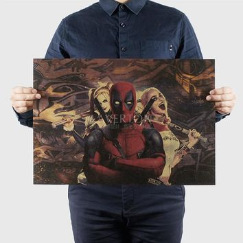 Deadpool C/classic FILM/ Hollywood actor movie /kraft paper/ Wall stickers / bar Retro Poster/decorative painting 51x35.5cm