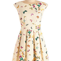 Mid-length Cap Sleeves A-line Fluttering Romance Dress in Colorful Butterflies