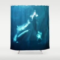 Underwater Beluga Whale Ballet Shower Curtain by Distortion Art