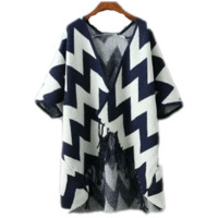 Fashion Wave Tassel Bat Sleeve Knit Cardigan Outerwear