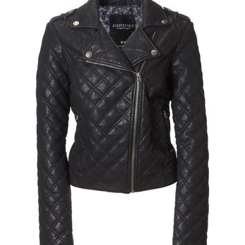 Aeropostale  Womens Quilted Faux Leather Moto Jacket