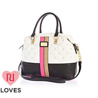 White quilted contrast panel bowler bag - shoulder bags - bags / purses - women
