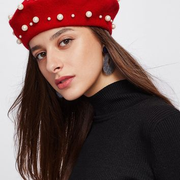 Faux Pearl Beret Hat RED