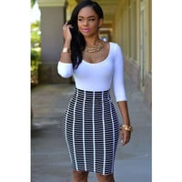 White 3/4 Sleeve Top and Black Bodycon Skirt