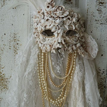 Ornate art mask wall hanging white handmade shabby cottage chic rose garland painted embellished unique ooak home decor anita spero design