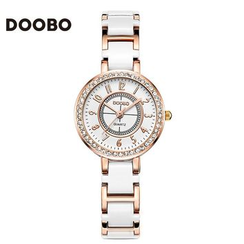 2017 Fashion Brand DOOBO Bling Luxury Watch Women Small Quartz-watch Lady Gift Bracelet Rhinestone Montre Femme Women Watches