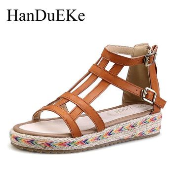 HanDuEKe 2017 New Women Gladiator Sandals Bohemia Fashion Girls Platform Sandals Casual Summer Shoes Woman Wedges Beach Sandals
