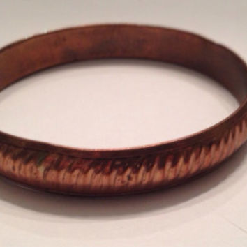 Vintage Indian Handmade  Copper Bangle Bracelet Boho Jewelry
