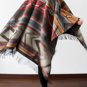 Wool Cape Wool Poncho Outerwear Wool Coat Women Clothing Fashion Accessories Women Wear Aztec Poncho Ethnic Poncho Boho Poncho Tribal Poncho