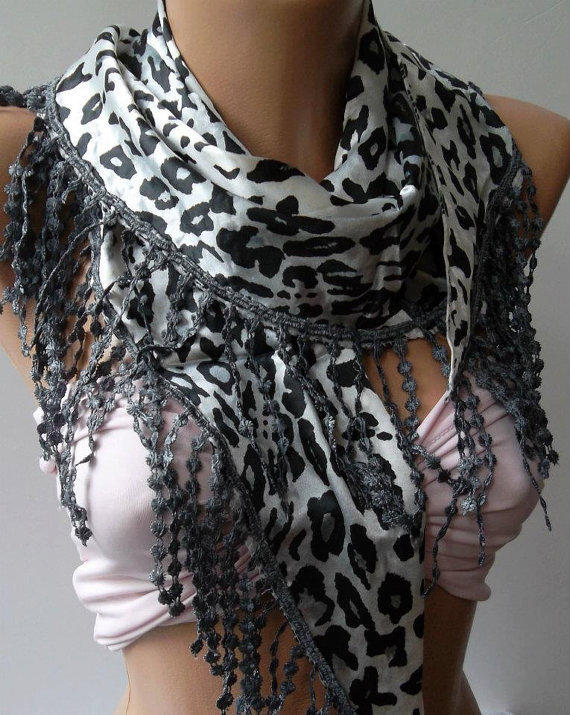 Elegance  Shawl / Scarf with Lacy Edge  -  leopard-