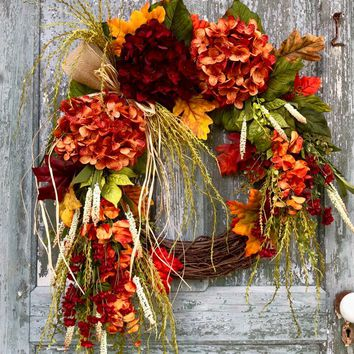 Fall wreath, Autumn wreath, hydrangea wreath, Fall door wreath, front door wreath, grapevine wreath, Fall decor, Autumn decor, floral wreath