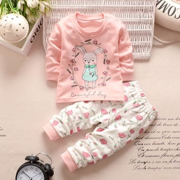 Baby girls clothes long sleeve t-shirt + pants